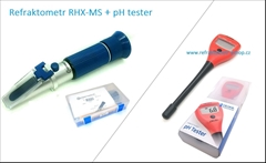 RHX-MS+pH tester - Sada refraktometru a pH testru :  Refraktometr k sledovaní celého průběhu kvašení. Laboratorní přesnost -±0,2% ,Testovaná přesnost -±0,1% , Ph tester pro měření Vašeho kvasu o rozsahu 0 až 14 pH  ± 0,1 pH.