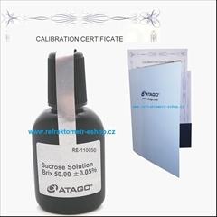 ATAGO certifikovaný roztok 50% Brix ( ±0.03% ) - Kalibrační roztok, s nominálem 50% Brix ( ±0.05% ). Určené pro refraktometry se stupnicí Brix.