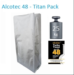 25kg Turbo Kvasnice Alcotec 48h-Titan Pack - Titan pack 25kg pytel Alcotec 48, Turbo kvasinky jsou téměř nejprodávanější turbo kvasnice na světě.  Za 48h 14% alkoholu.  Pro cukerné a ovocné kvasy.