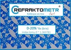 3.bodová Kalibrace 0-20%  - Kalibrace refraktometr v rozsahu 0-20% °Brix nebo ekvivalent indexu lomu v rozsahu 0 ~ 1.363781