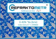 Kalibrace ON-LINE 0-40% - 2.bodová  - Kalibrace refraktometr v rozsahu 0-40% °Brix nebo ekvivalent indexu lomu v rozsahu 0 ~ 1.399860