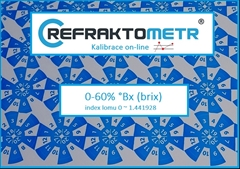 3.bodová Kalibrace 0-60%  - Kalibrace refraktometr v rozsahu 0-60% °Brix nebo ekvivalent indexu lomu v rozsahu 0 ~ 1.441928